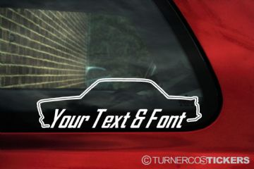 2x Classic BMW 2002 Turbo, m10 tii CUSTOM TEXT stickers